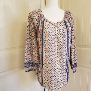 Lucky Brand NWT Mutli Color Print Blouse XL